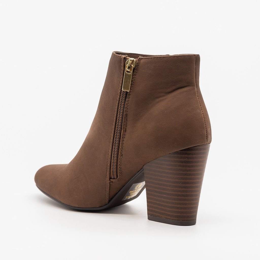 Womens Chic Minimalist Ankle Booties - Delicious Shoes