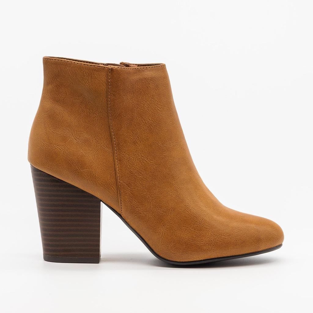 Womens Chic Minimalist Ankle Booties - Delicious Shoes - Medium Tan / 5