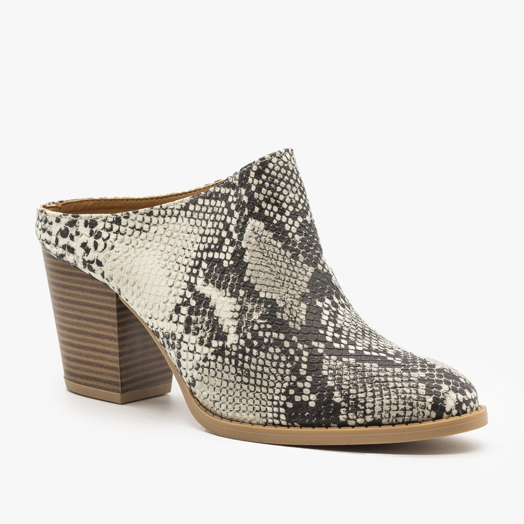 Womens Chic Mule Booties - Qupid Shoes - Stone Black Snake / 5