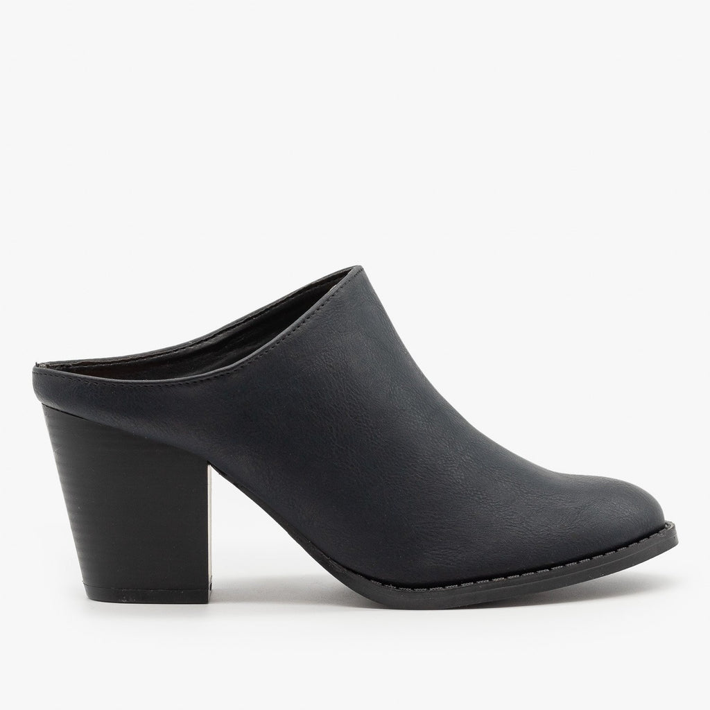Womens Chic Mule Booties - Qupid Shoes - Black / 5
