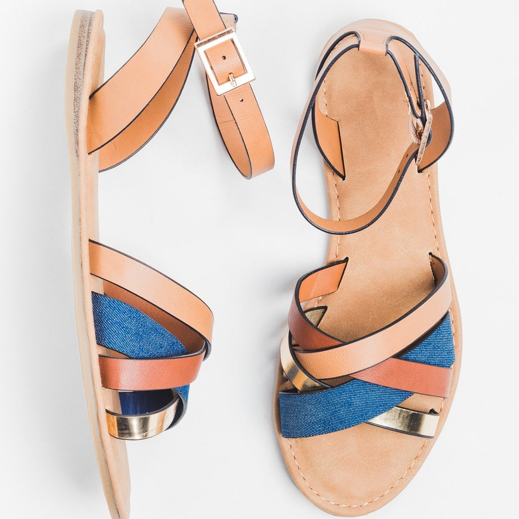 Womens Chic Multi Sandals - Bamboo Shoes - Blue Denim / 10