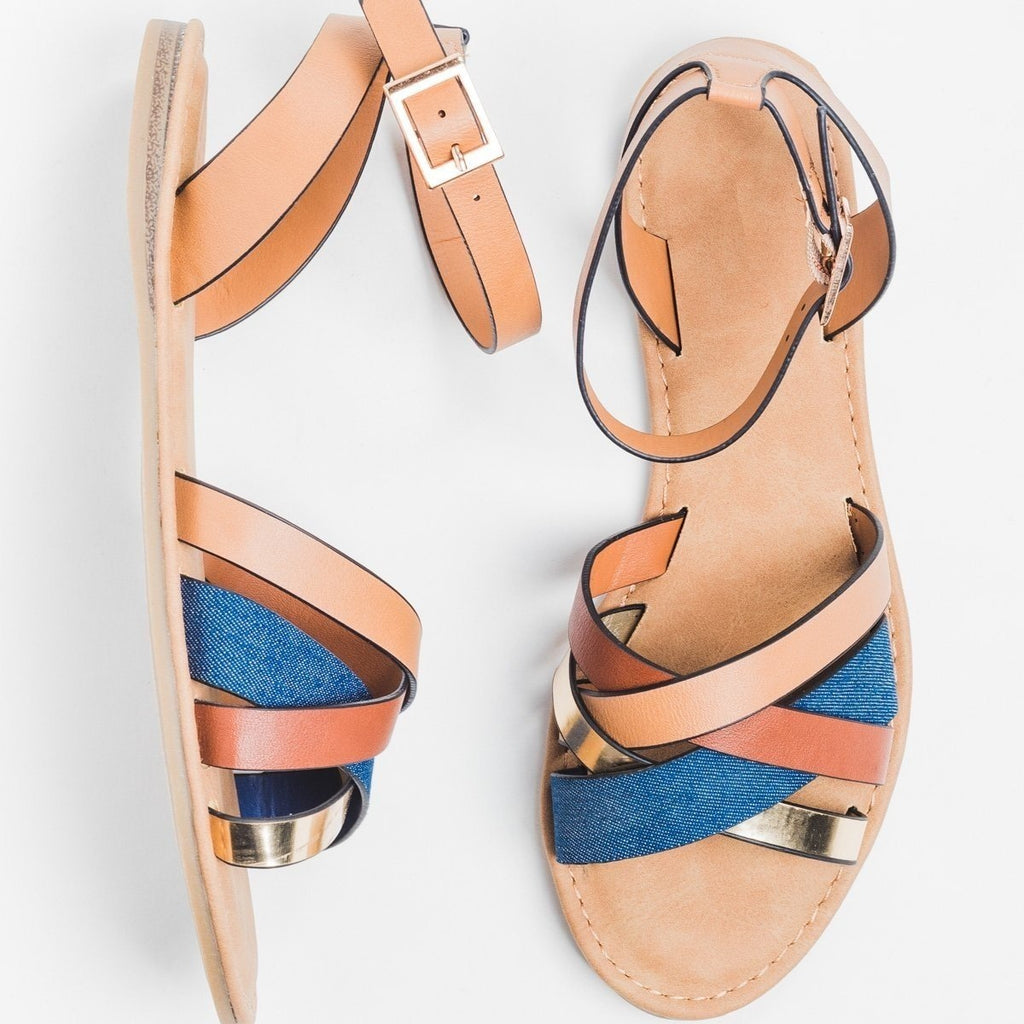 Womens Chic Multi Sandals - Bamboo Shoes - Blue Denim / 5