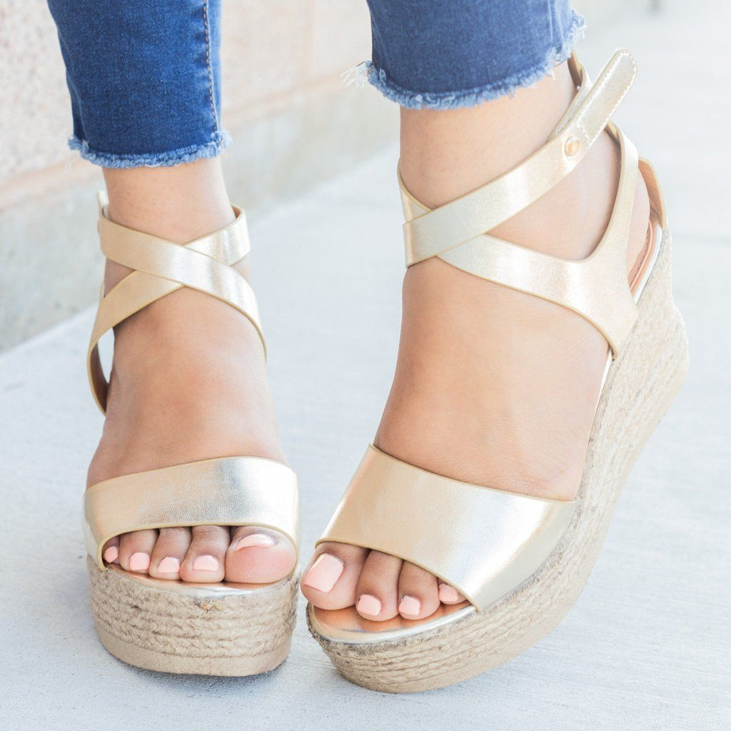 Womens Chic Open Toe Wedges - Refresh - Champagne / 5