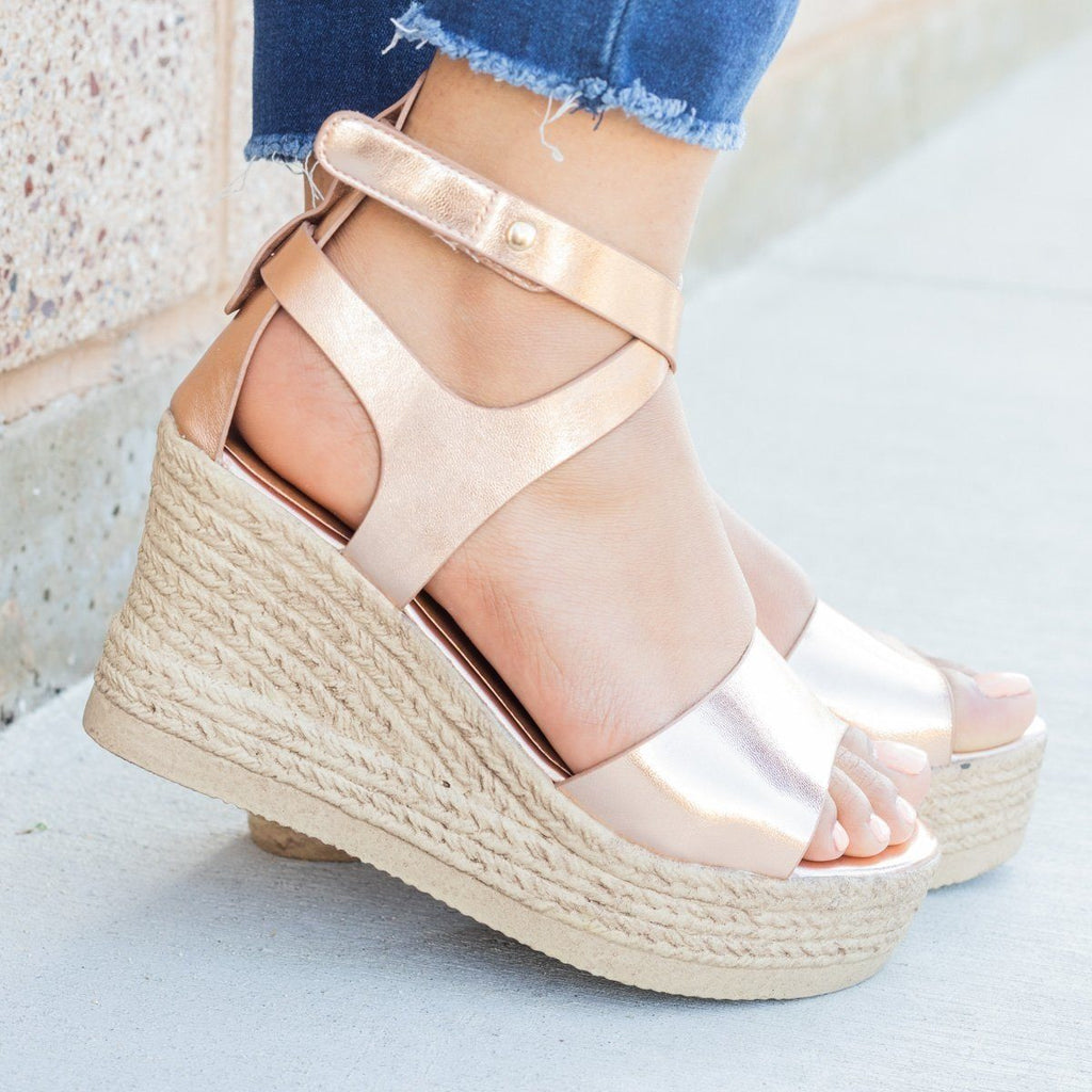 Womens Chic Open Toe Wedges - Refresh - Rose Gold / 5