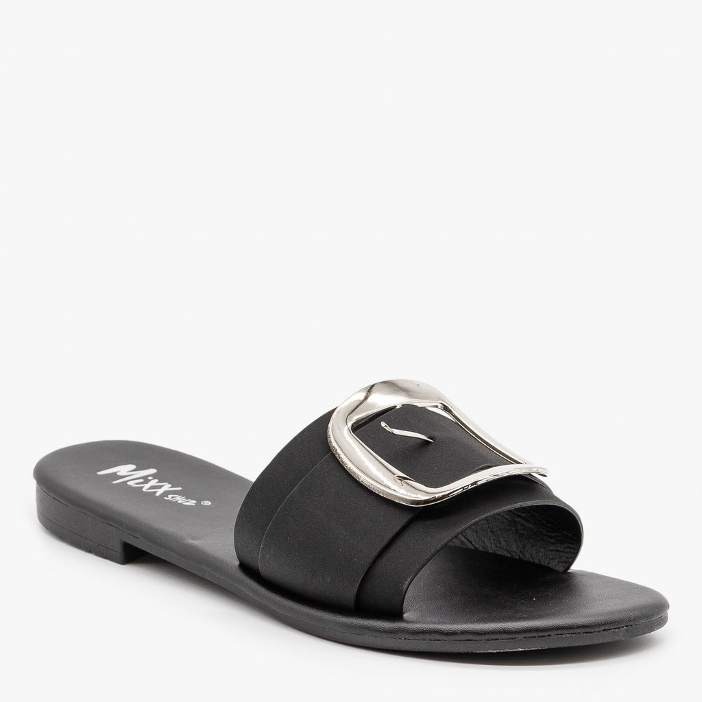 Womens Chic Oversized Buckle Sandals - Mixx Shoes - Black / 5