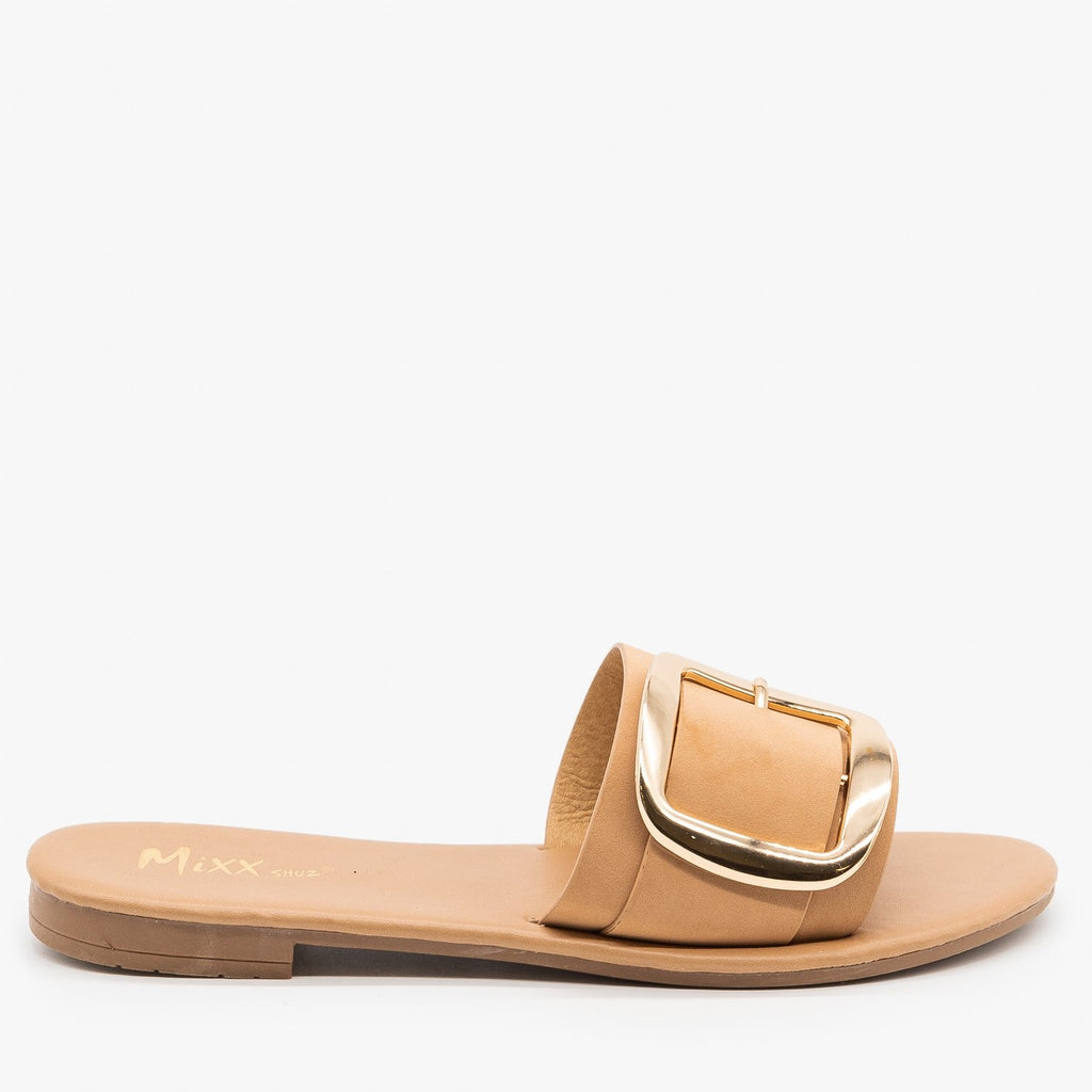 Womens Chic Oversized Buckle Sandals - Mixx Shoes