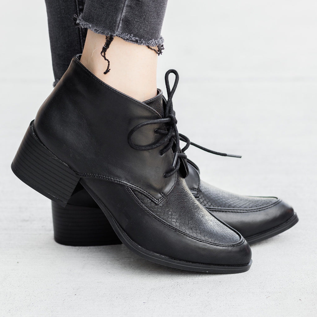 Womens Chic Oxford Booties - Qupid Shoes