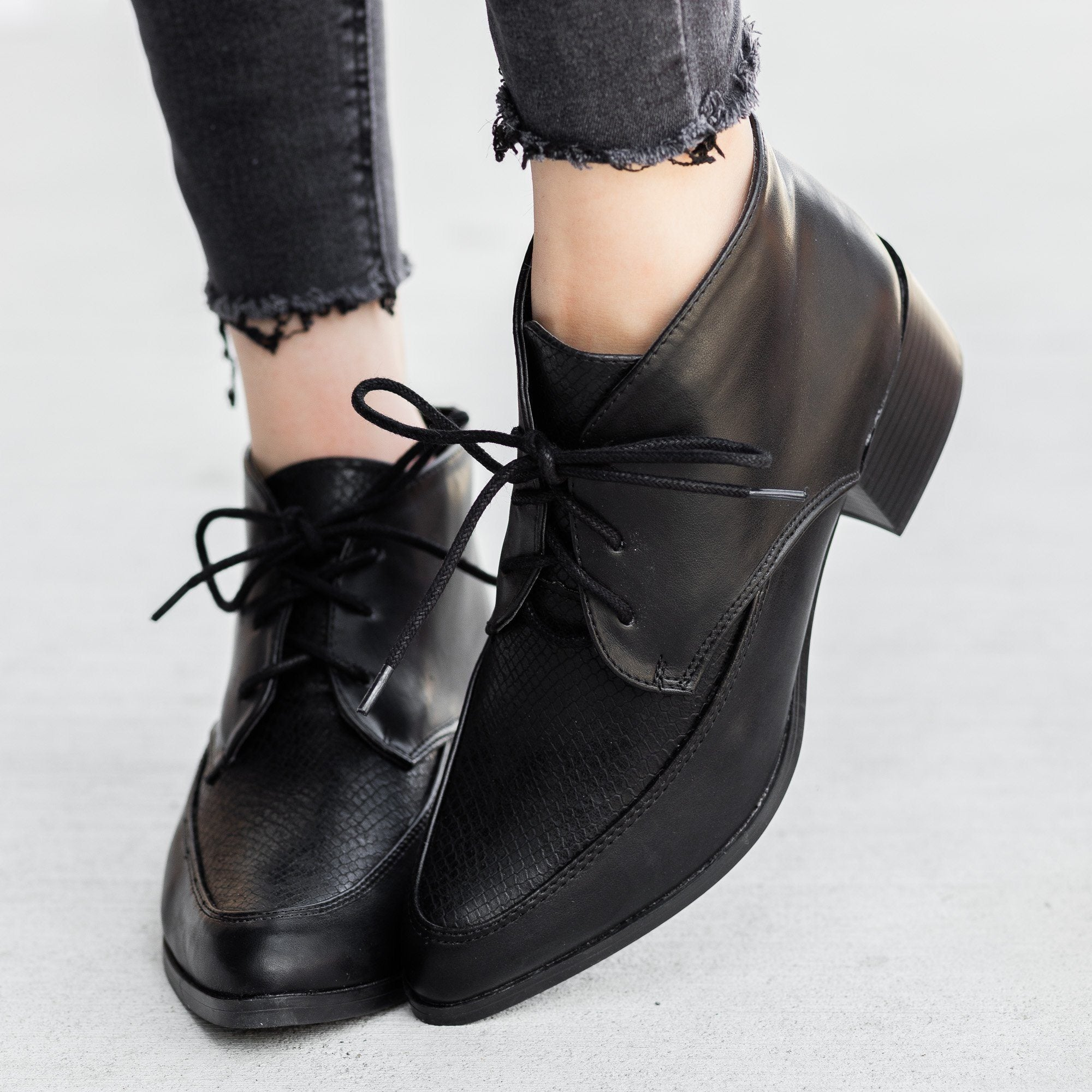 Chic Oxford Booties - Qupid Shoes Wasco