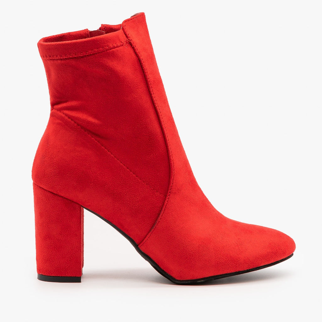 Womens Chic Party Booties - Top Moda - Red / 5
