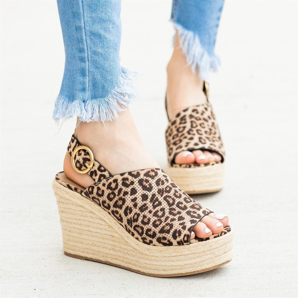 Womens Chic Peep-Toe Espadrille Platform Wedges - Soda Shoes