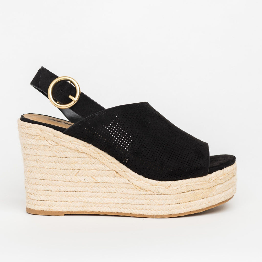 Womens Chic Peep-Toe Espadrille Platform Wedges - Soda Shoes - Black / 5