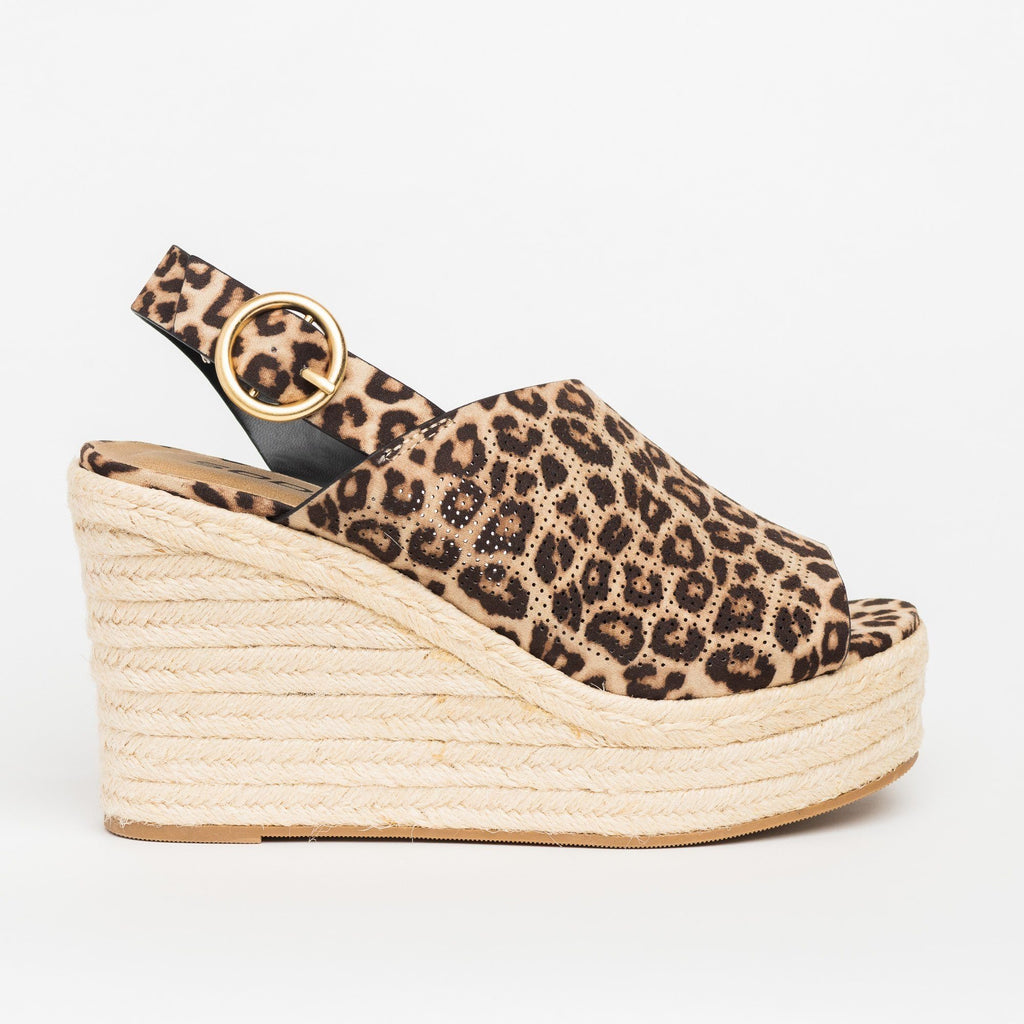 Womens Chic Peep-Toe Espadrille Platform Wedges - Soda Shoes - Oatmeal Cheetah / 5