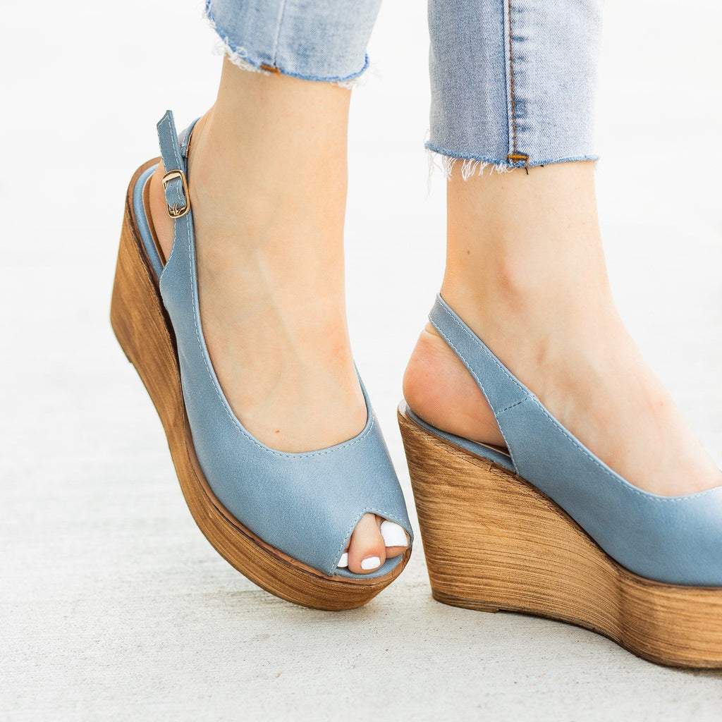 Womens Chic Peep Toe Wooden Platform Wedges - Refresh