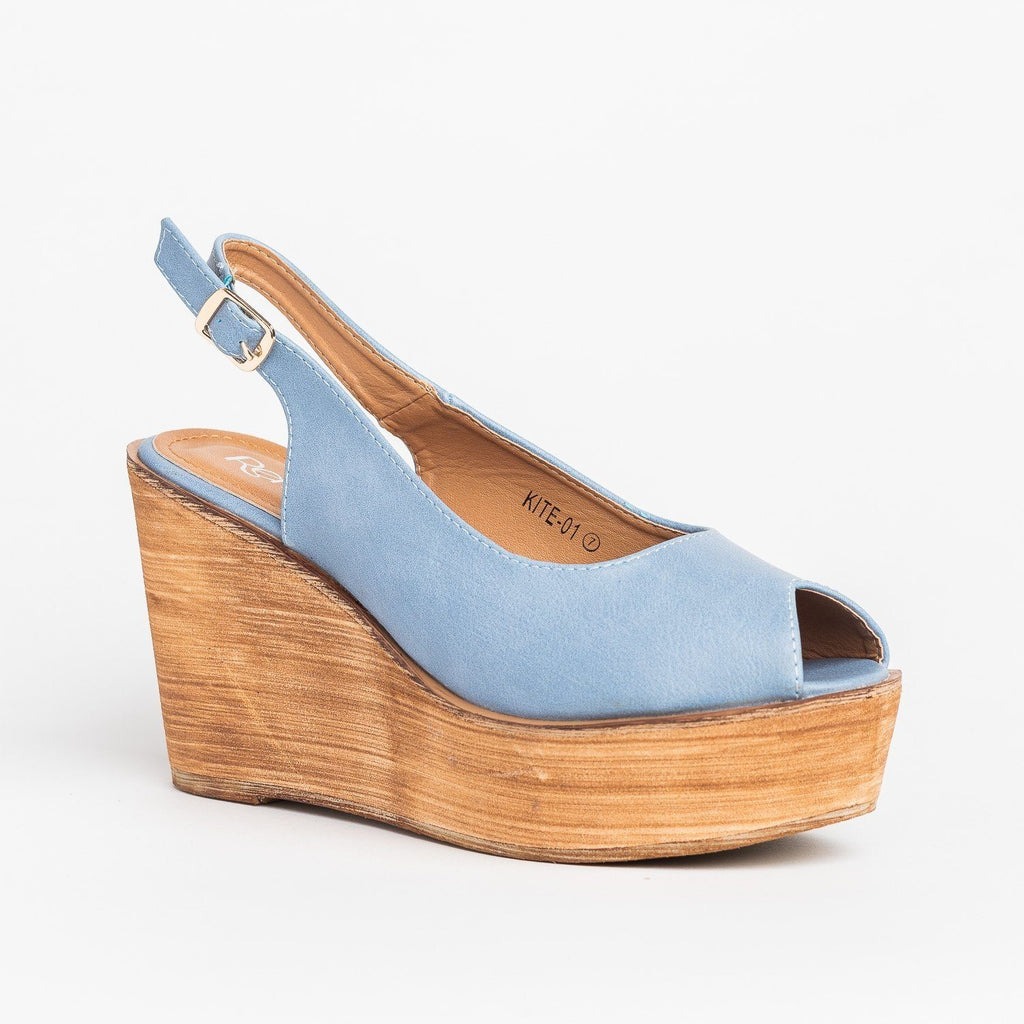 Womens Chic Peep Toe Wooden Platform Wedges - Refresh - Blue / 5