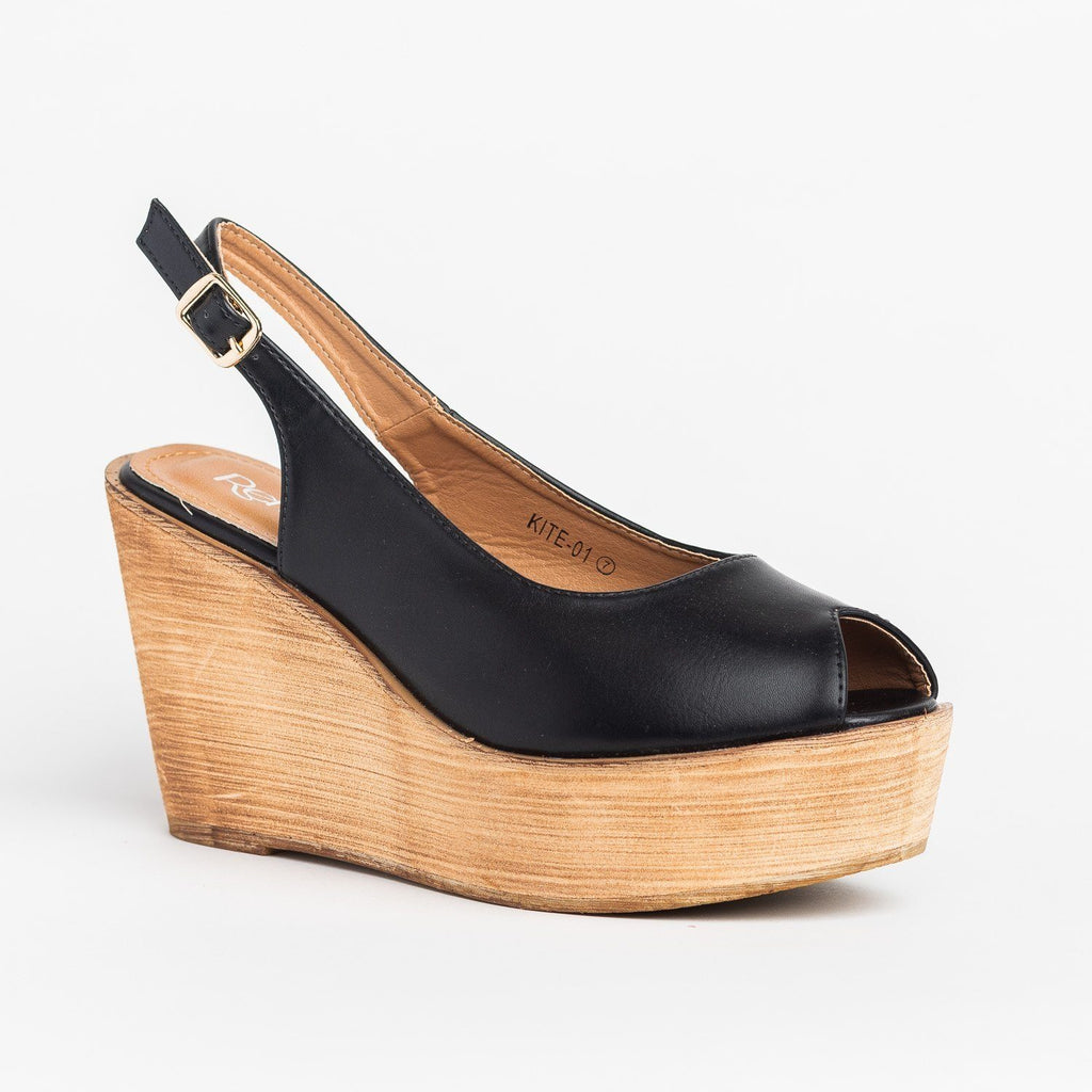 Womens Chic Peep Toe Wooden Platform Wedges - Refresh - Black / 5