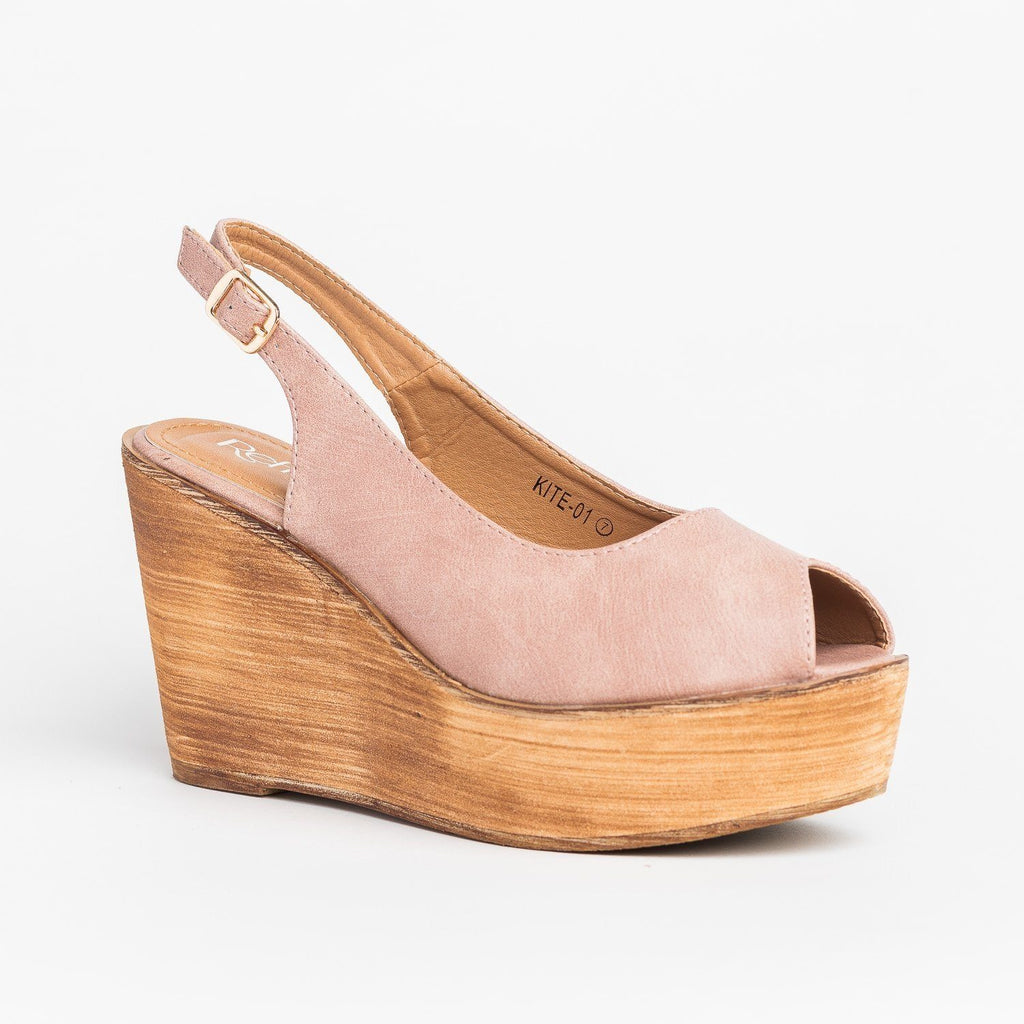 Womens Chic Peep Toe Wooden Platform Wedges - Refresh - Mauve / 5