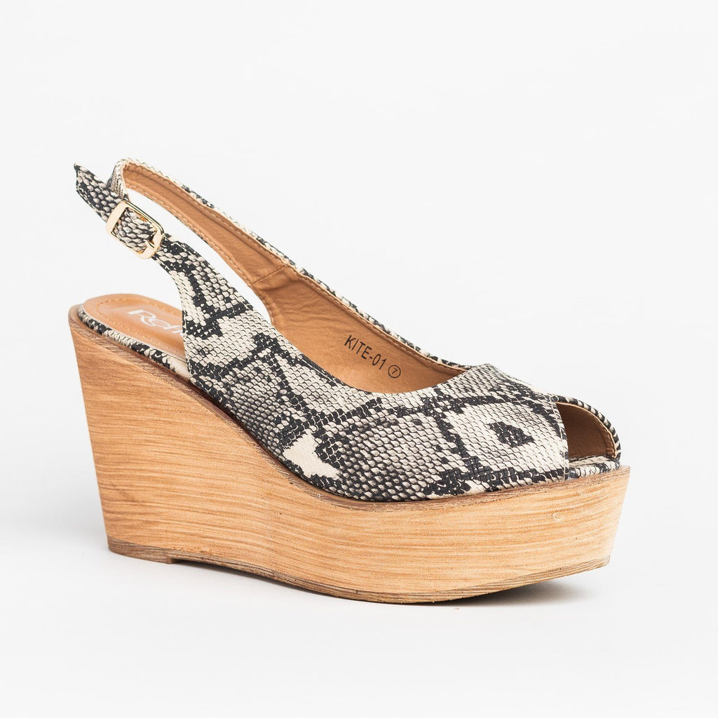 Womens Chic Peep Toe Wooden Platform Wedges - Refresh - Snake / 5