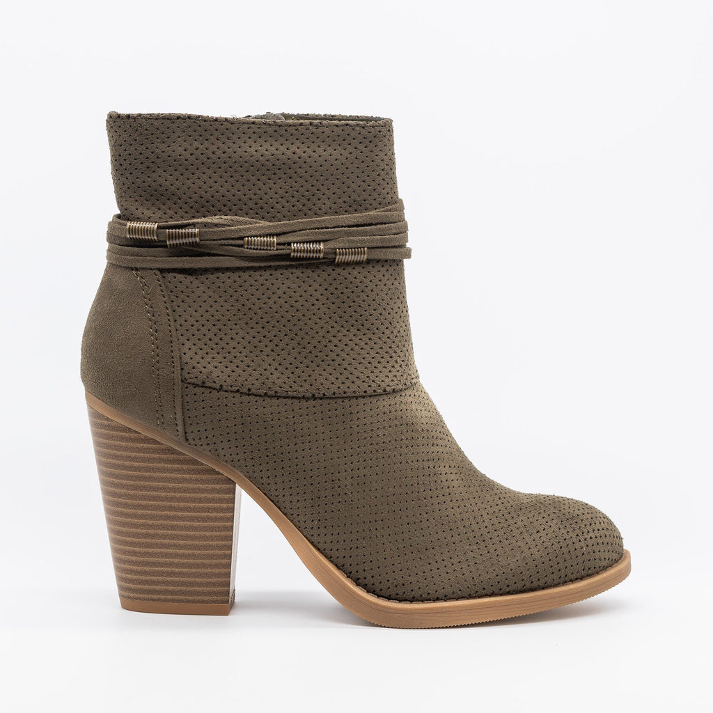 Womens Chic Pinhole Fashion Booties - Soda Shoes - Light Olive / 5