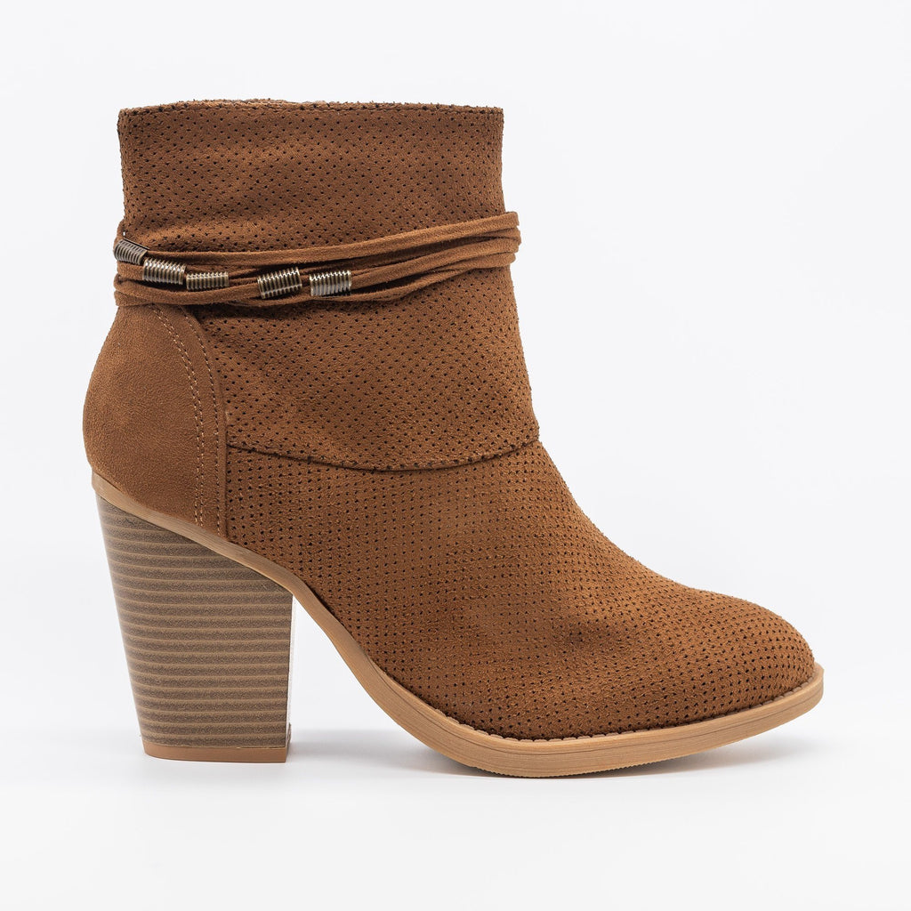 Womens Chic Pinhole Fashion Booties - Soda Shoes - Chestnut / 5