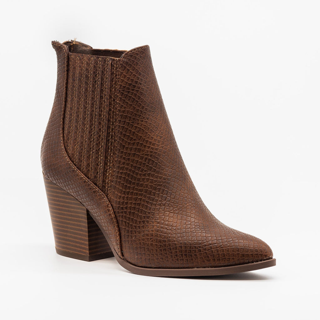 Womens Chic Pointed Toe Snake Skin Booties - Soda Shoes - Brown / 5