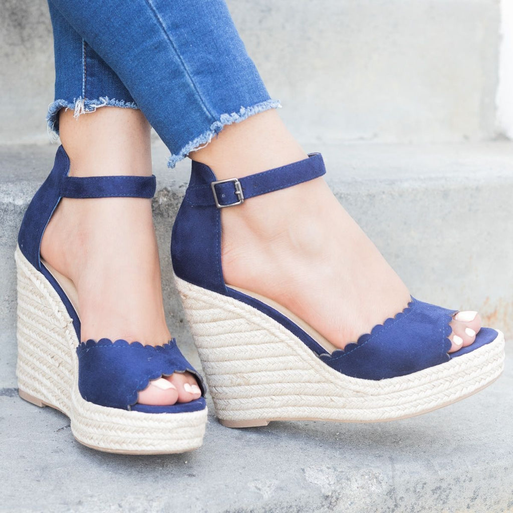 Womens Chic Scalloped Espadrille Wedges - Delicious Shoes - Navy / 5