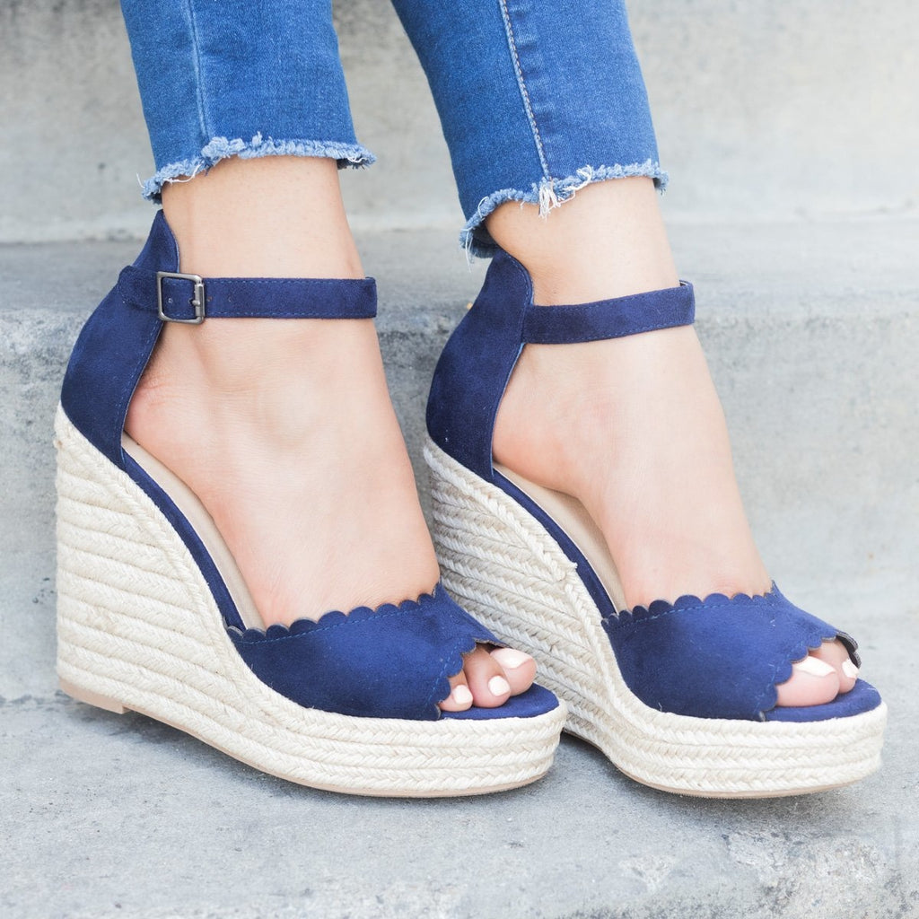 Womens Chic Scalloped Espadrille Wedges - Delicious Shoes