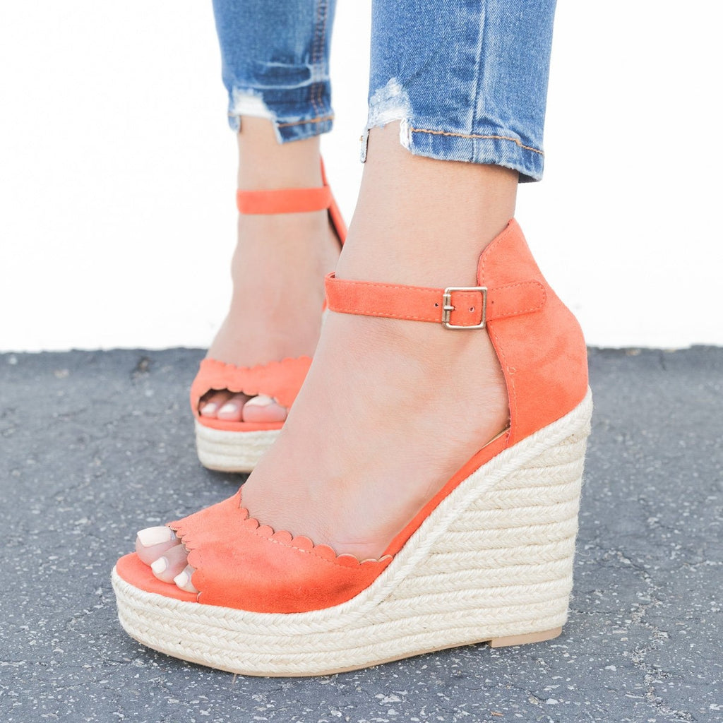 Womens Chic Scalloped Espadrille Wedges - Delicious Shoes - Burnt Orange / 5