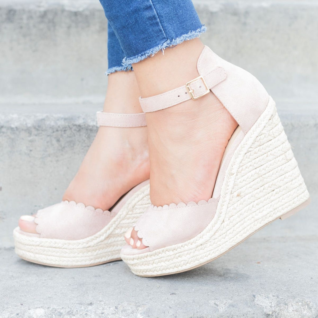 Womens Chic Scalloped Espadrille Wedges - Delicious Shoes - Dark Mauve / 5