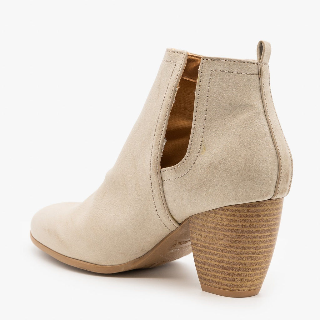 Womens Chic Side Cut Burnished Booties - Qupid Shoes