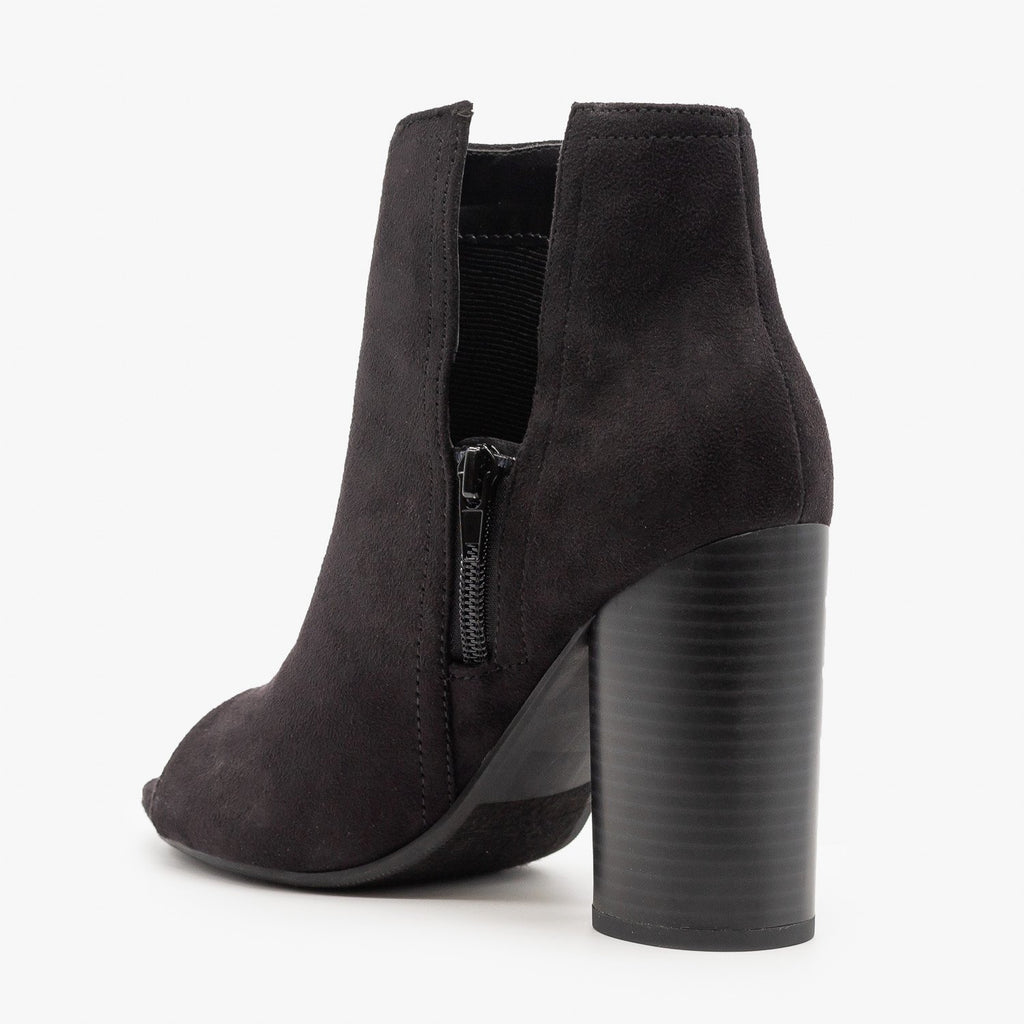 Womens Chic Side Slit Peep Toe Booties - Soda Shoes