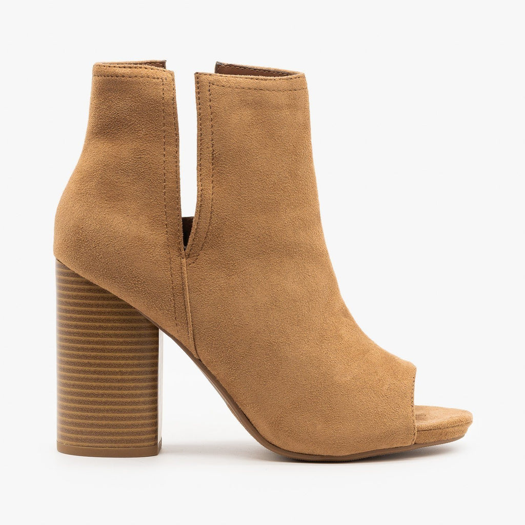 Womens Chic Side Slit Peep Toe Booties - Soda Shoes - Light Tan / 5