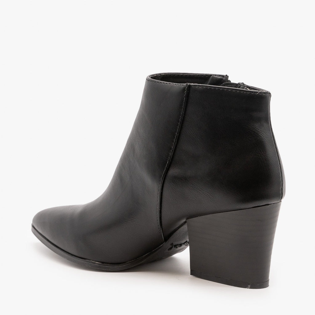 Womens Chic Side Zipper Booties - Qupid Shoes