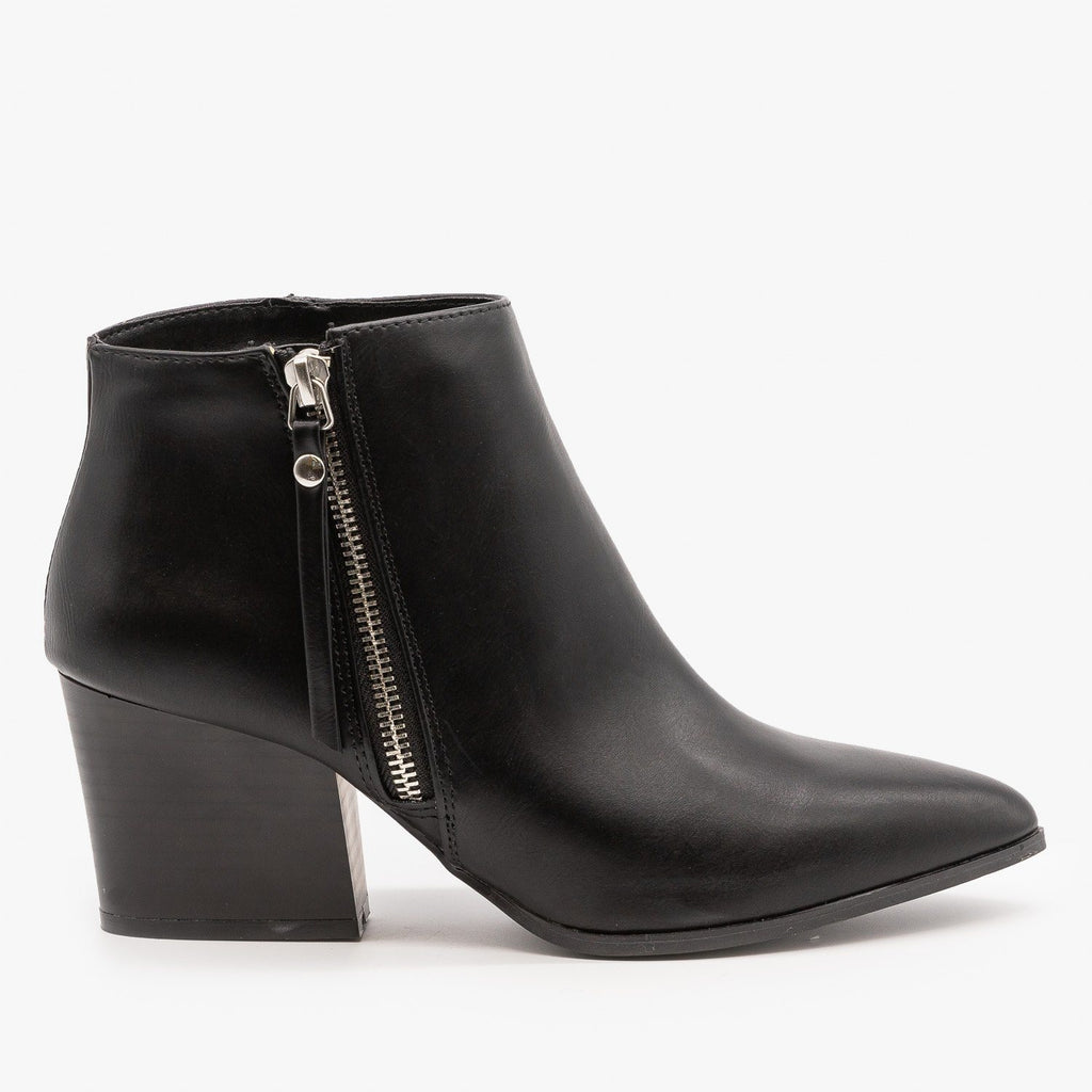 Womens Chic Side Zipper Booties - Qupid Shoes - Black / 5