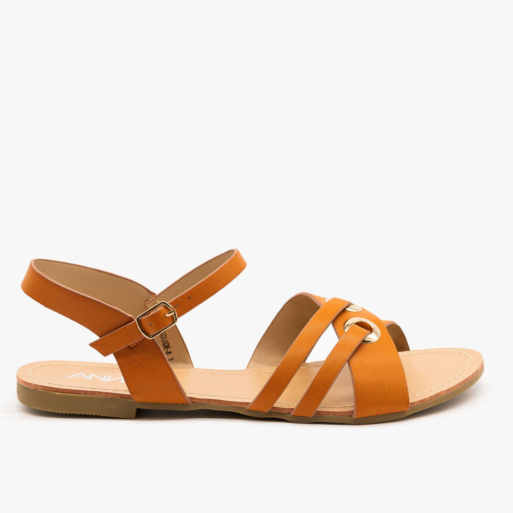 Womens Chic Slingback Sandals - Anna Shoes - Tan / 5