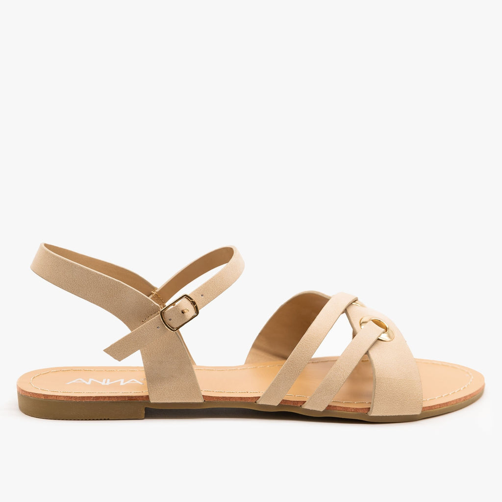 Womens Chic Slingback Sandals - Anna Shoes - Beige / 5