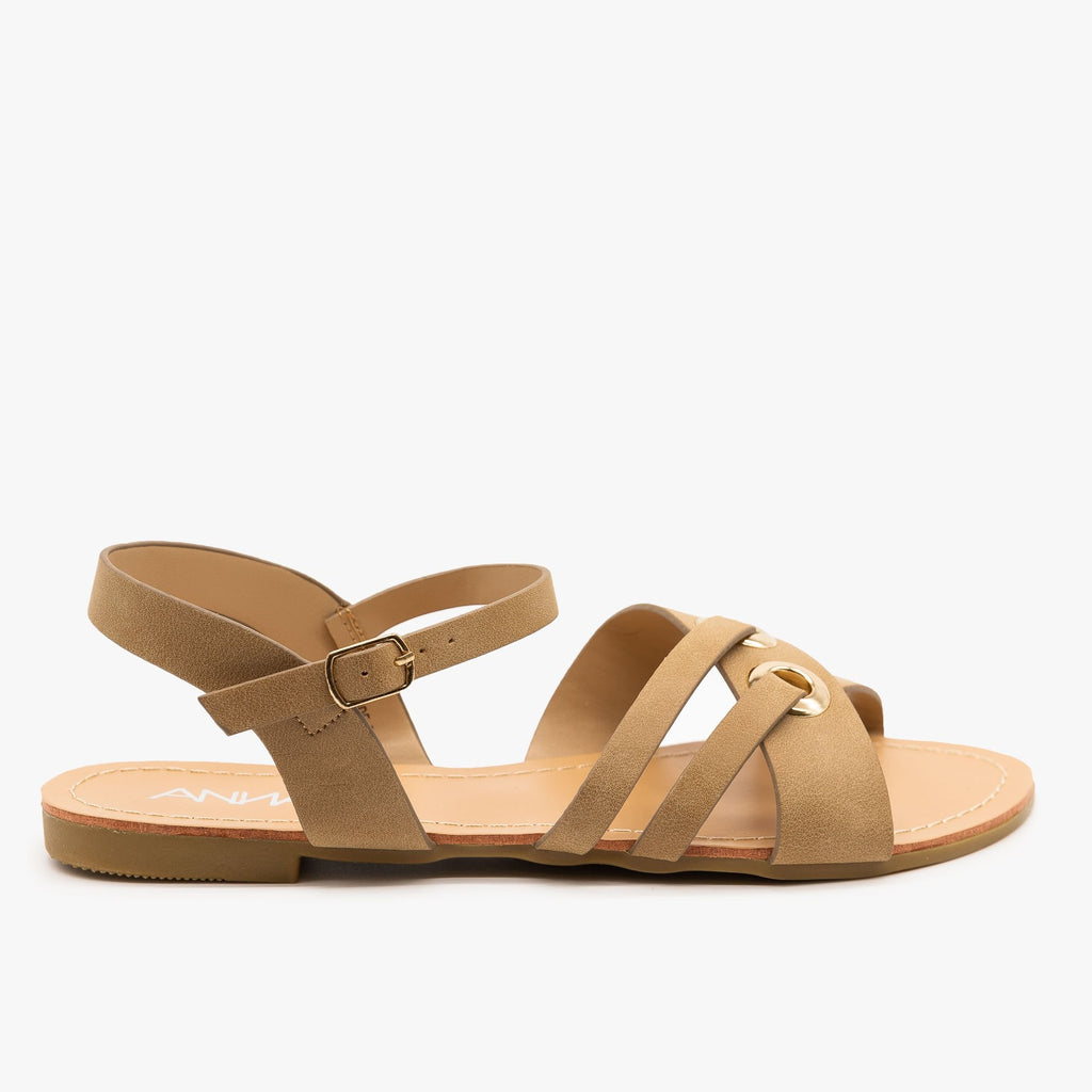 Womens Chic Slingback Sandals - Anna Shoes - Taupe / 5