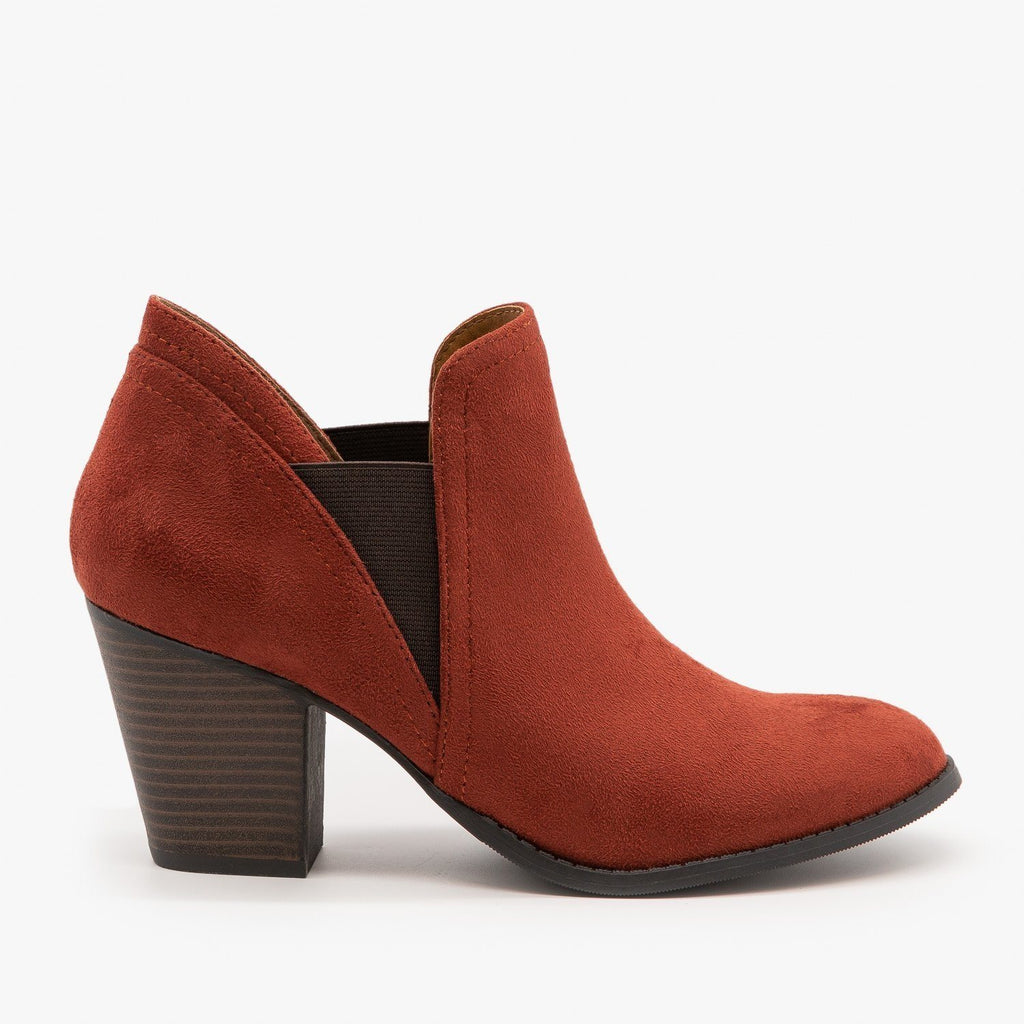 Womens Chic Slip On Booties - City Classified Shoes - Rust / 5