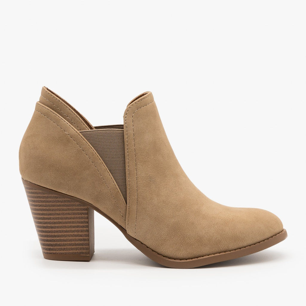 Womens Chic Slip On Booties - City Classified Shoes - Light Taupe / 5