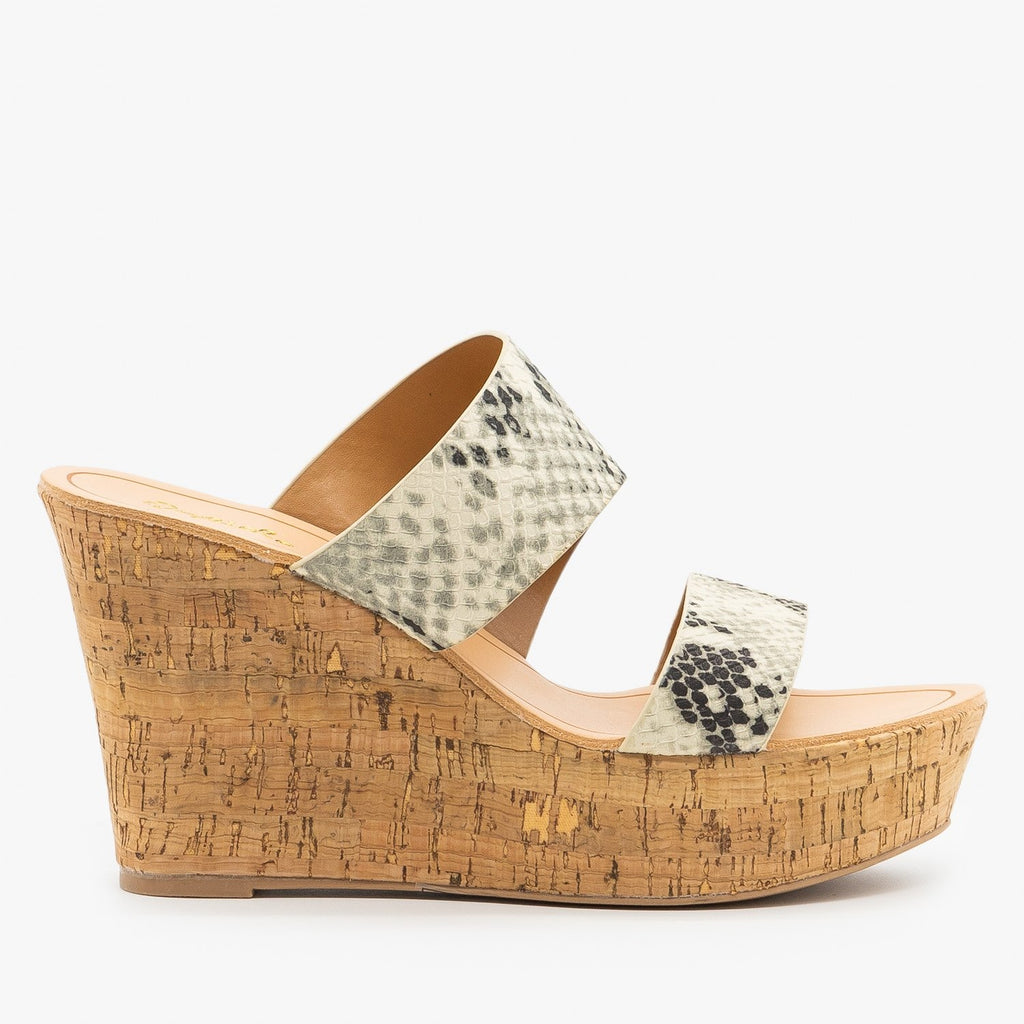 Womens Chic Snake Cork Wedges - Qupid Shoes - Stone Black Snake / 5