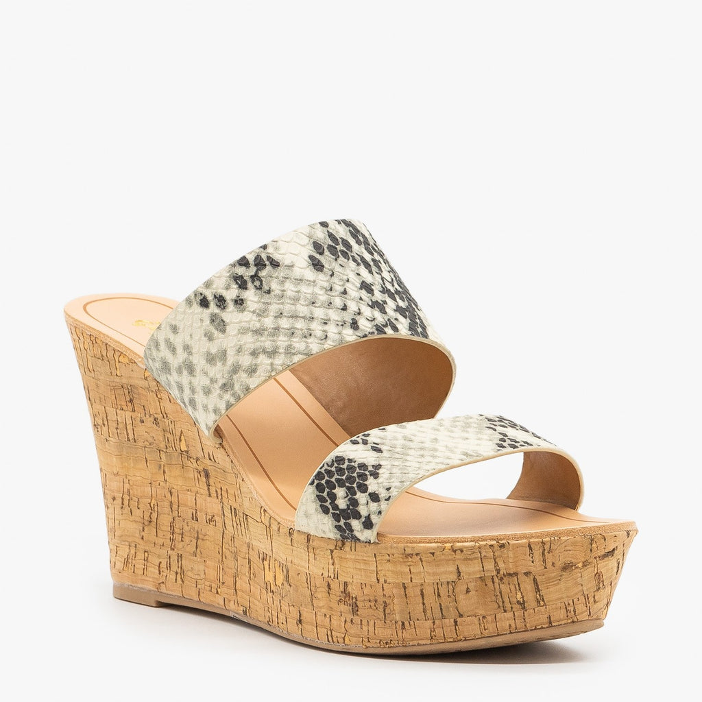 Womens Chic Snake Cork Wedges - Qupid Shoes