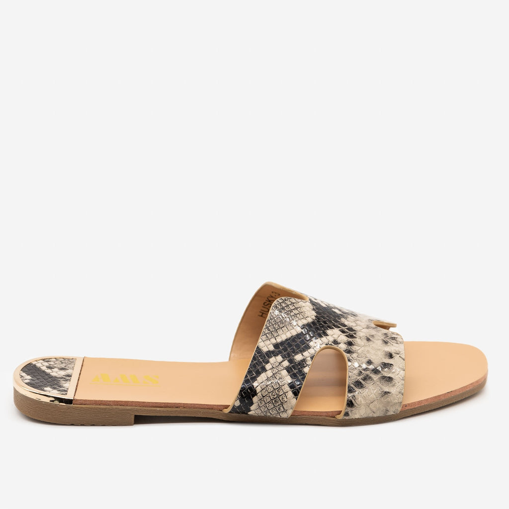 Women's Chic Snake Print Sandals - AMS Shoes