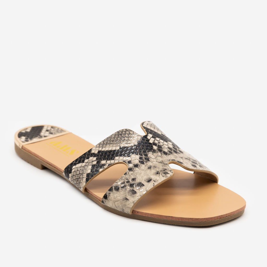 Women's Chic Snake Print Sandals - AMS Shoes - Snake / 5
