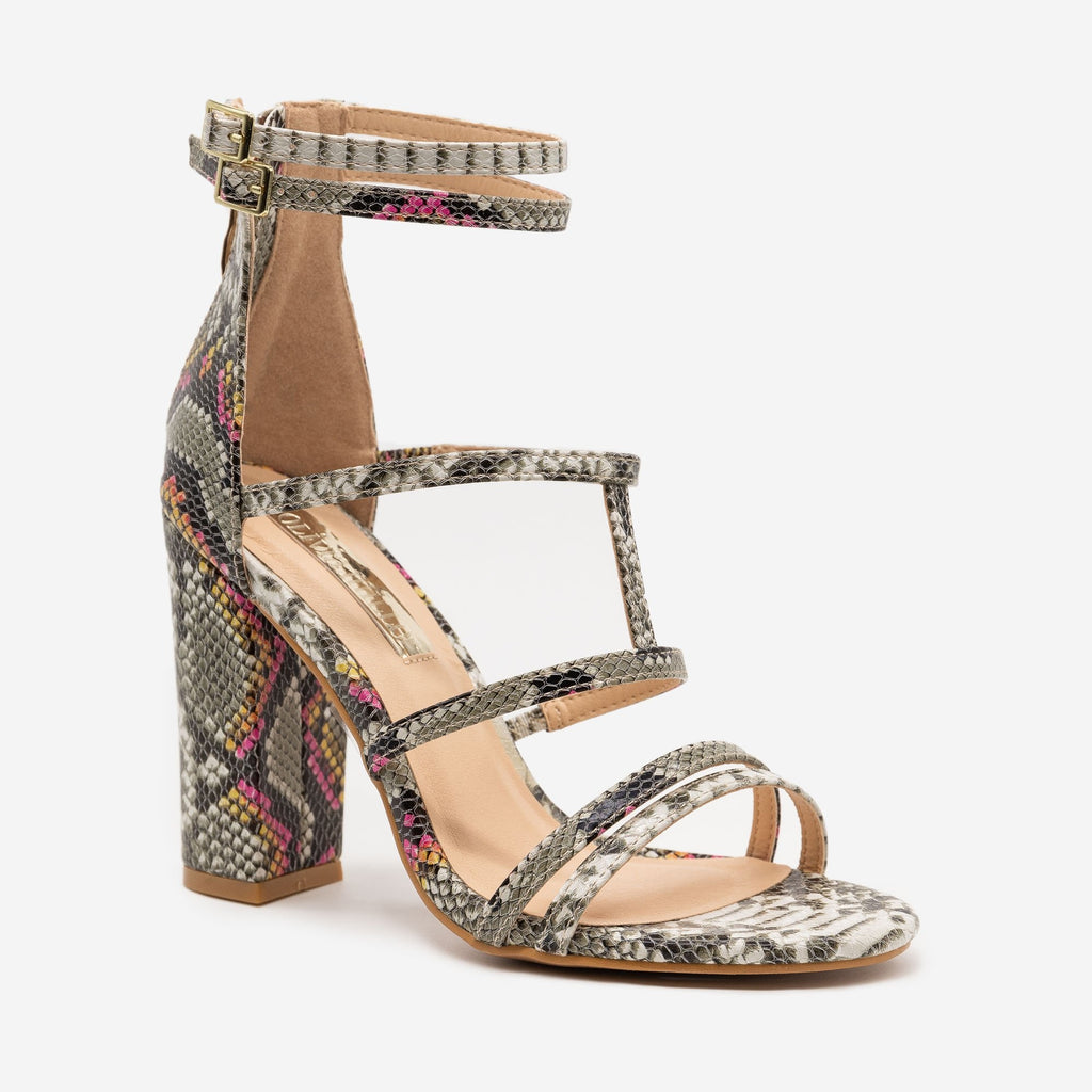 Women's Chic Snake Print Strappy High Heels - Olivia Miller