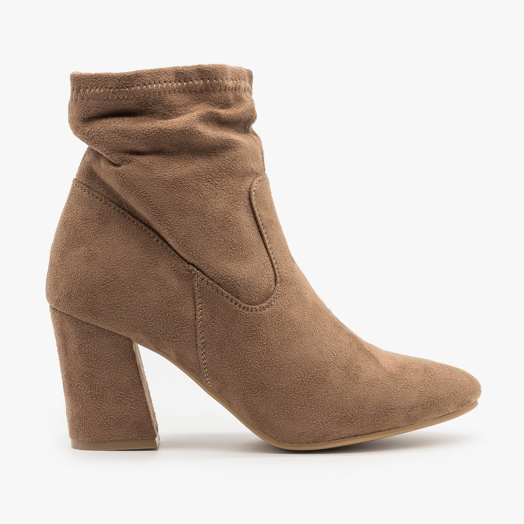 Womens Chic Sock Booties - Reneeze Shoes - Taupe / 5