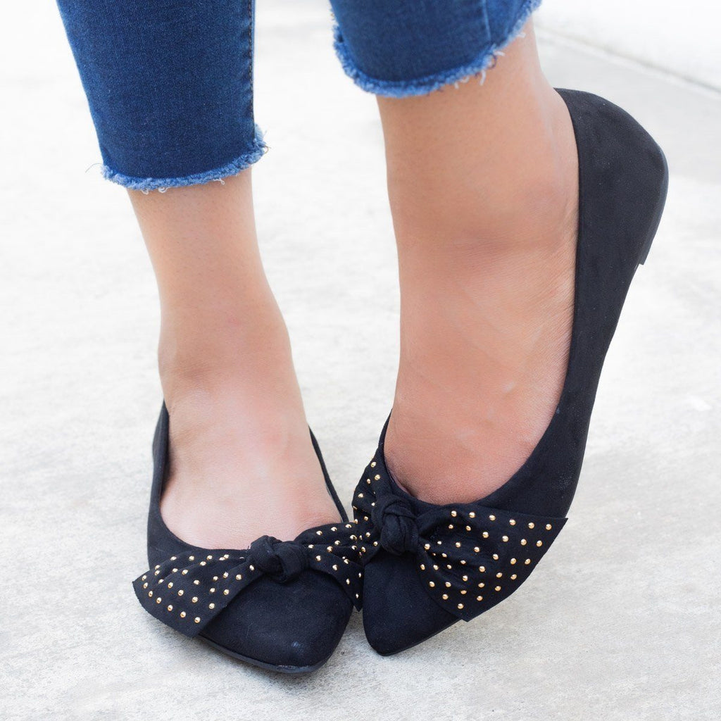 Womens Chic Studded Bow Flats - Bamboo Shoes