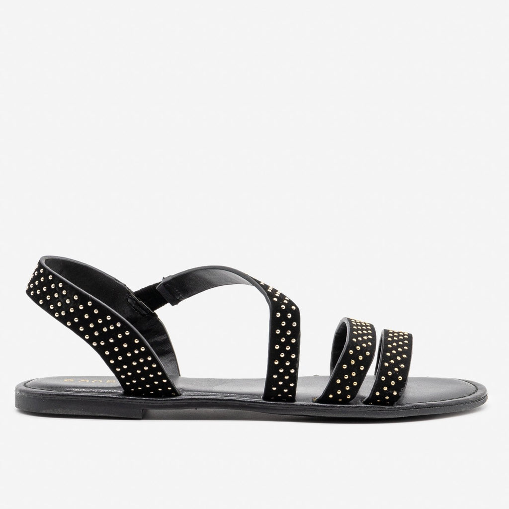 Women's Chic Studded Sandals - Bamboo Shoes - Black / 5