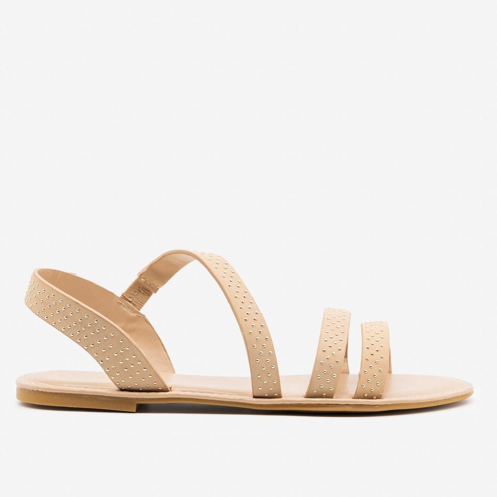 Women's Chic Studded Sandals - Bamboo Shoes - Nude / 5