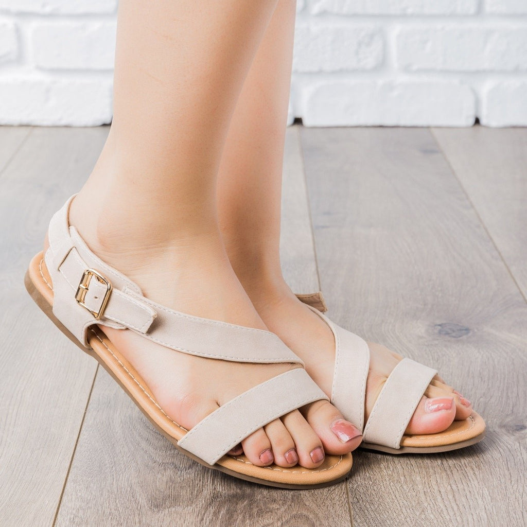 Womens Chic Summer Sandals - Cherish - Nude / 5