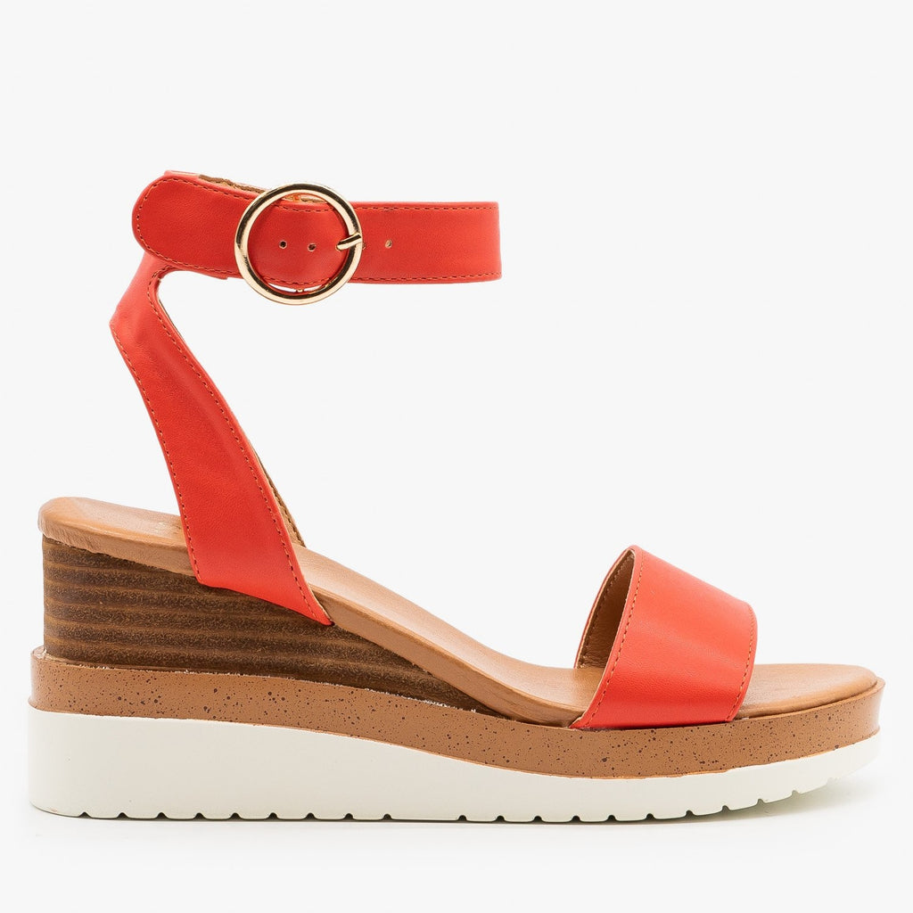 Womens Chic Summer Wedge Sandals - Novo Shoes - Coral / 5