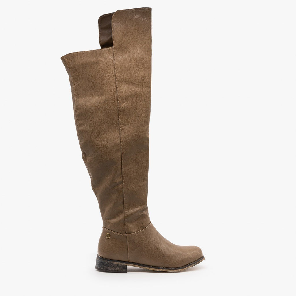 Womens Chic Tall Rider Boots - Nature Breeze - Beige / 5